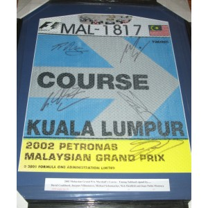 Signed Malaysian GP Timing Bib