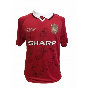 Manchester United Squad Signed 1999 Champions League Shirt