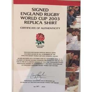 Signed England 2003 Rugby World Cup Shirt