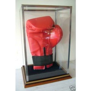 signed upright full size boxing glove display