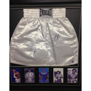 Framed Larry Holmes and Ken Norton Signed Boxing Shorts