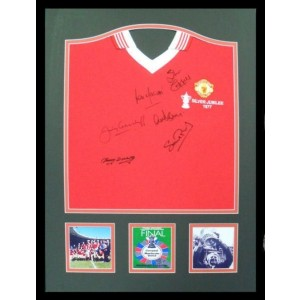 Manchester United 1977 FA Cup Team Signed Shirt