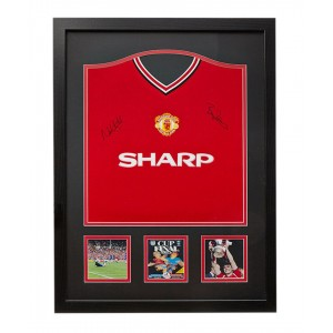 Bryan Robson and Norman Whiteside Signed Manchester United Shirt