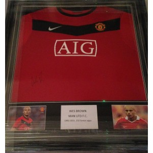 Wes Brown Signed MUFC Shirt